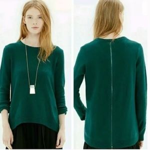 Madewell Back-Zip Pullover Sweater in Forest Green